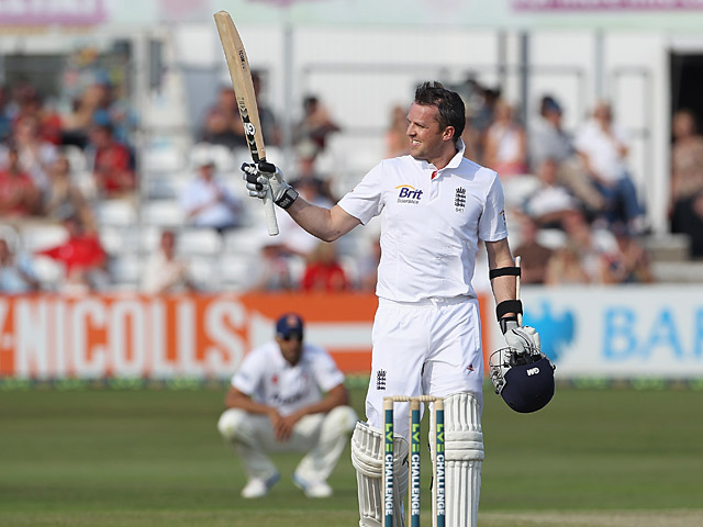 Graeme Swann celebrates his fifty during their International warm up match against Essex on June 30, 2013