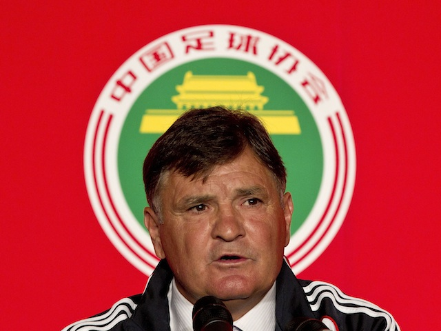 Ex-China boss  Jose Antonio Camacho at a press conference on August 14, 2011