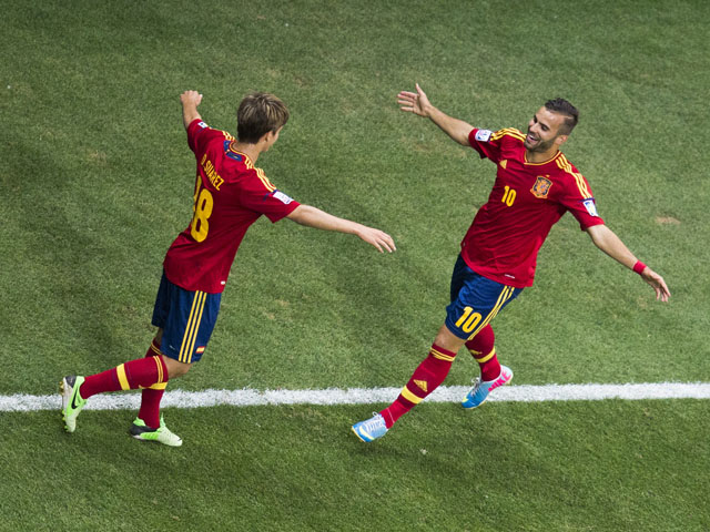Spain's Jese celebrates scoring against Ghana during the Under 20 World Cup on June 24, 2013