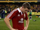 Lions Brian O'Driscoll stand dejected after defeat to Australia during the Second Test match on June 29, 2013