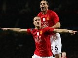 Rio Ferdinand and Nemanja Vidic celebrates the latter's goal against Inter Milan.
