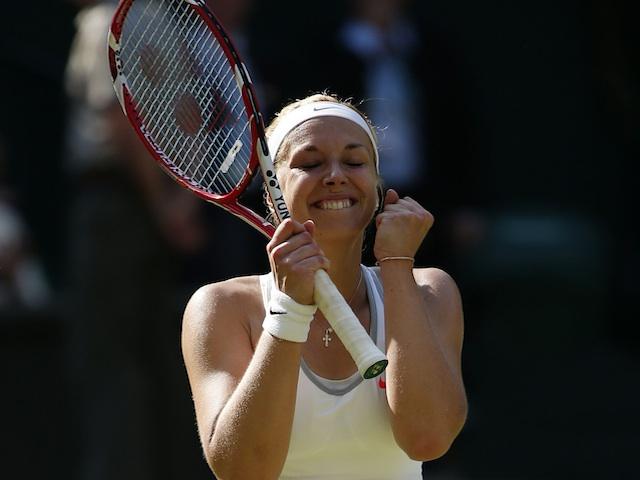 Sabine Lisicki celebrates winning her Wimbledon semi-final against Agnieszka Radwanska on July 4, 2013