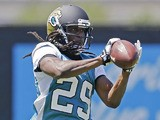 Jacksonville Jaguars running back Denard Robinson catches a pass during a practice session on May 13, 2013