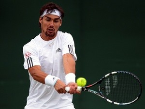 Fabio Fognini in action at Wimbledon on June 24, 2013