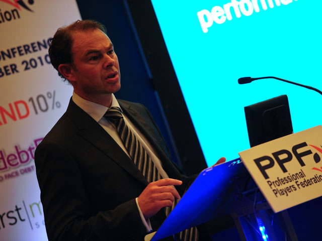 Director of Drug-Free Sport at UK Sport and Chief Executive Officer of UK Anti-Doping Andy Parkinson makes a speech at the Professional Players Federation Conference on October 4, 2010