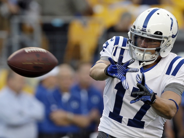 Colts' Austin Collie takes a catch on August 19, 2012