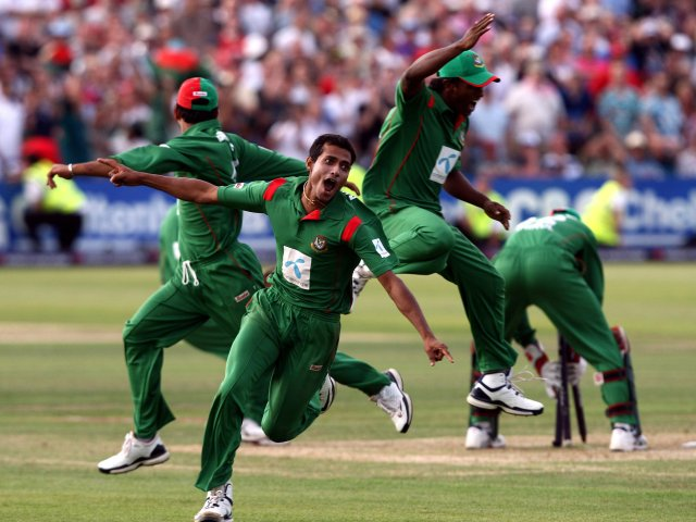 Bangladesh celebrate beating England at Bristol.