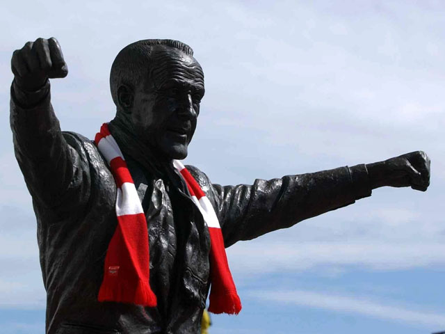 The statue of former Liverpool manager Bill Shankley outside Anfield stadium taken May 26, 2005