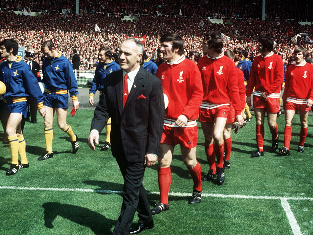 Liverpool FC manager Bill shankly leading his men on to the field at Wembley Stadium for the FA Cup Final against Arsenal on May 8, 1971