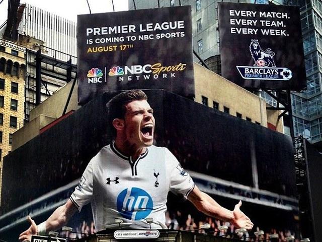 Gareth Bale on a NBC billboard in Times Square