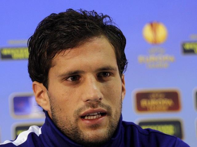 Inter's Matias Silvestre talks to press on November 7, 2012