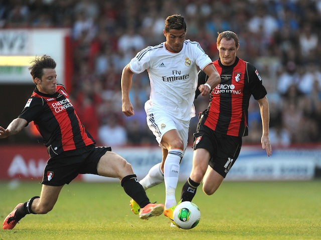 Real Madrid star Cristiano Ronaldo in action against Bournemouth on July 21, 2013