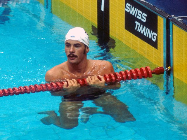 David Wilkie in the pool after competing at the Montreal Olympics.