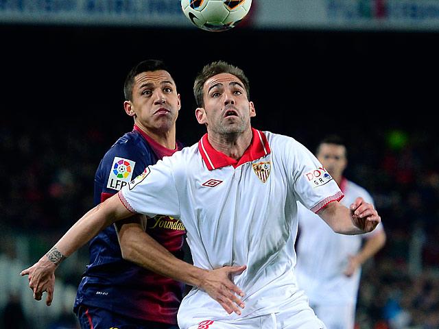 Sevilla's Fernando Navarro in action on February 23, 2013