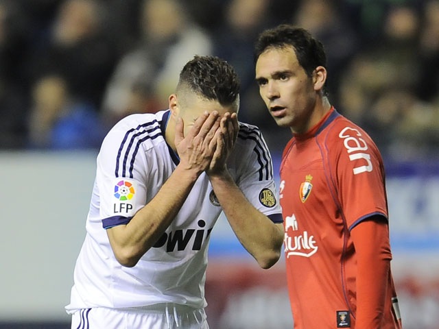 Osasuna's Lolo during their La Liga match against Real Madrid on January 12, 2013