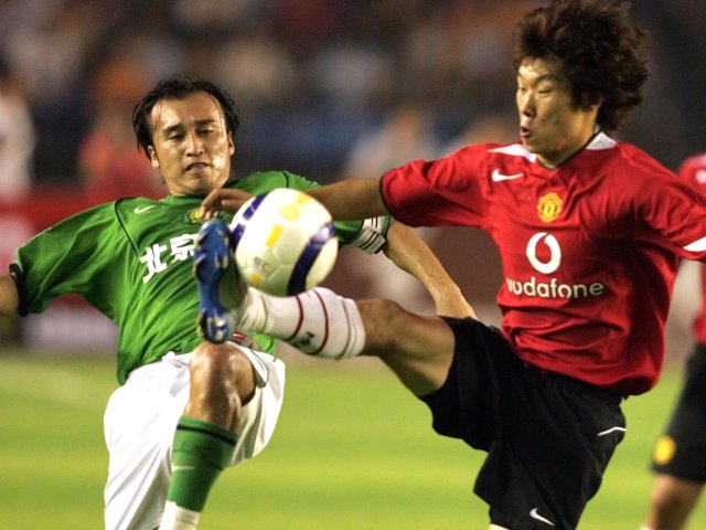 Park Ji-Sung in action for Manchester United again Beijing.