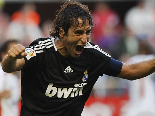 Real Madrid captain Raul celebrates a goal against Sevilla on April 26, 2009
