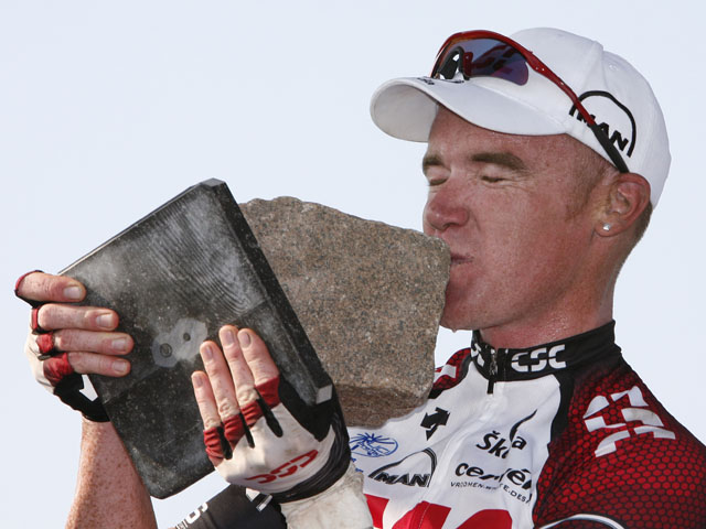 Stuart O'Grady of Australia kisses the trophy after he won the 105th Paris-Roubaix cycling classic on April 15, 2007