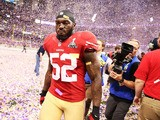 Patrick Willis of the San Francisco 49ers walks off of the field dejected after the Baltimore Ravens won the Super Bowl on February 3, 2013