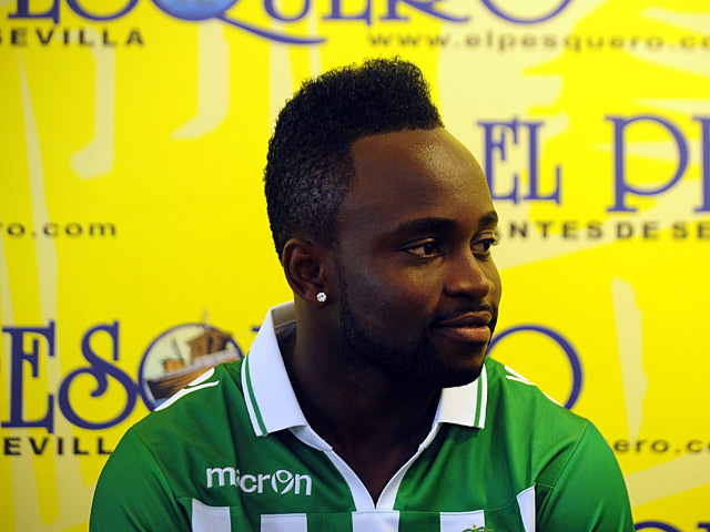 Real Betis' Cedric Mabwati during a press conference on July 3, 2013