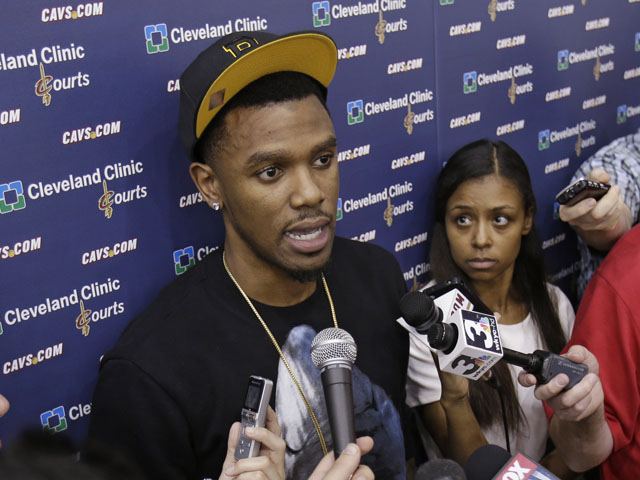 Cleveland Cavaliers' Daniel Gibson talks to the media at a news conference on April 18, 2013