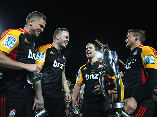 The Chiefs players celebrate after beating the Brumbies to win the Super Rugby Final on August 3, 2013