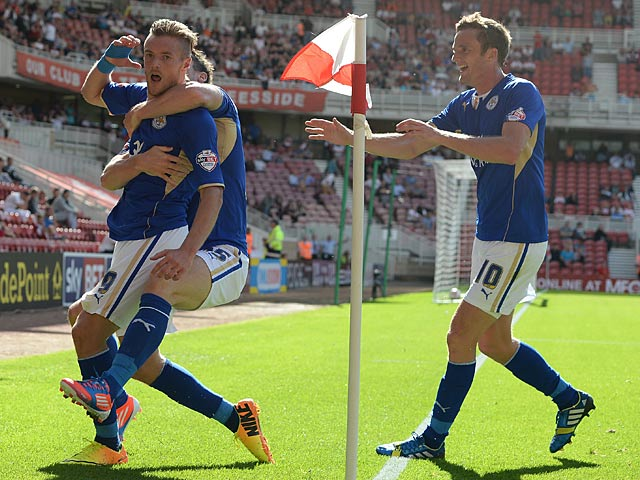 Leicester's Jamie Vardy celebrates with team mates after scoring the winner against Middlesbrough on August 3, 2013