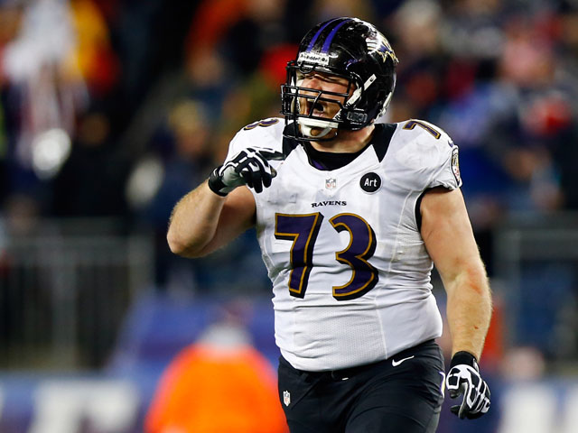 Marshal Yanda of the Baltimore Ravens reacts after play against the New England Patriots on January 20, 2013