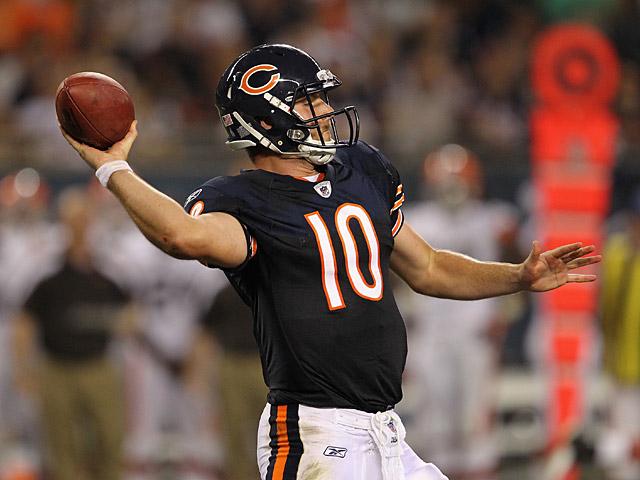 Chicago Bears' Nathan Enderle in action on September 1, 2011