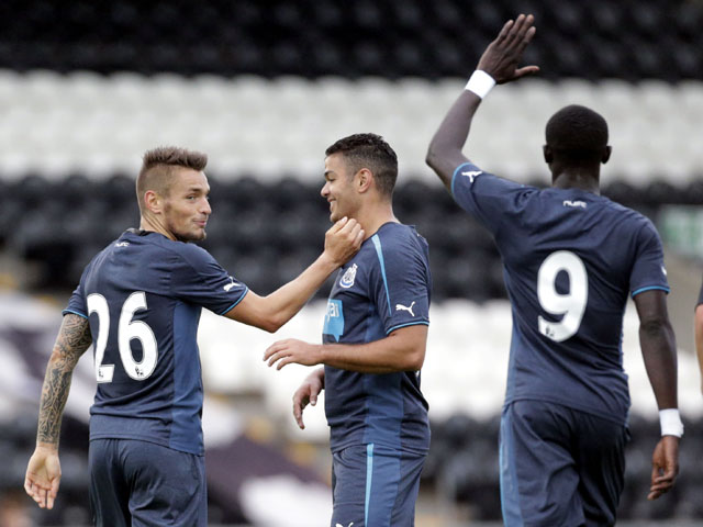 Newcastle United's Mathieu Debuchy celebrates scoring against St Mirren during the pre-season friendly on July 30, 2013