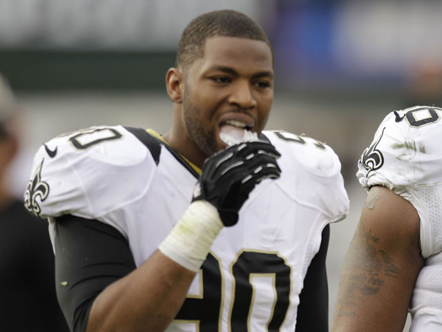 New Orleans Saints defensive end Turk McBride during the third quarter of the match against the Oakland Raiders on November 18, 2012