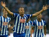 Hertha Berlin's Aenis Ben-Hatira celebrates after scoring against Eintracht Frankfurt on August 10, 2013
