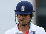England's Alastair Cook walks off the field after losing his wicket during day 5 of the 3rd Ashes Test on August 5, 2013