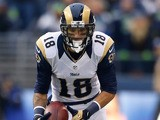 Wide receiver Austin Pettis of the St. Louis Rams rushes against the Seattle Seahawks on December 30, 2012