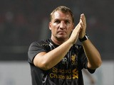 Brendan Rodgers manager of Liverpool applause to fans during the match between the Indonesia XI and Liverpool FC on July 20, 2013
