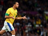 Leandro Damiao of Brazil reacts after scoring during the Men's Football Semi Final match between Korea and Brazil on August 7, 2012
