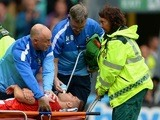 Blackburn Rovers forward Ruben Rochina receives treatment for a dislocated shoulder on August 4, 2013