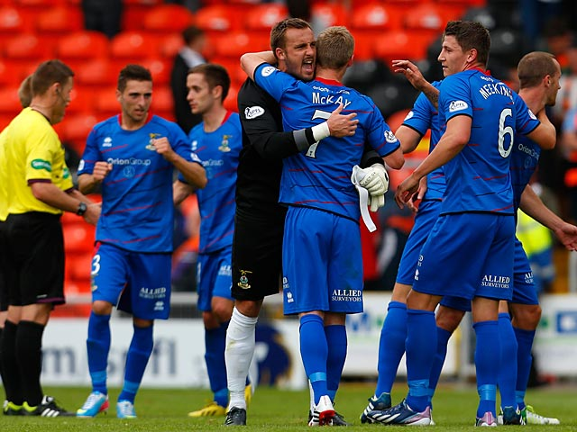 Inverness players celebrate their win over Dundee United at the end of the match on August 10, 2010