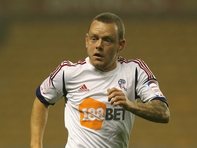 Jay Spearing playing for Bolton Wanderers on October 23, 2012