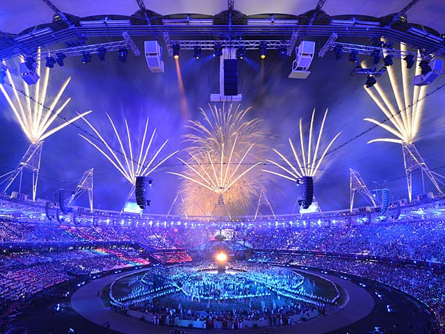 Fireworks burst over the Olympic Stadium during the opening ceremony on July 28, 2012