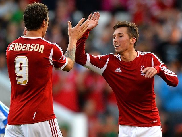 Forest's Radoslaw Majewski celebrates a goal against Hartlepool on August 6, 2013