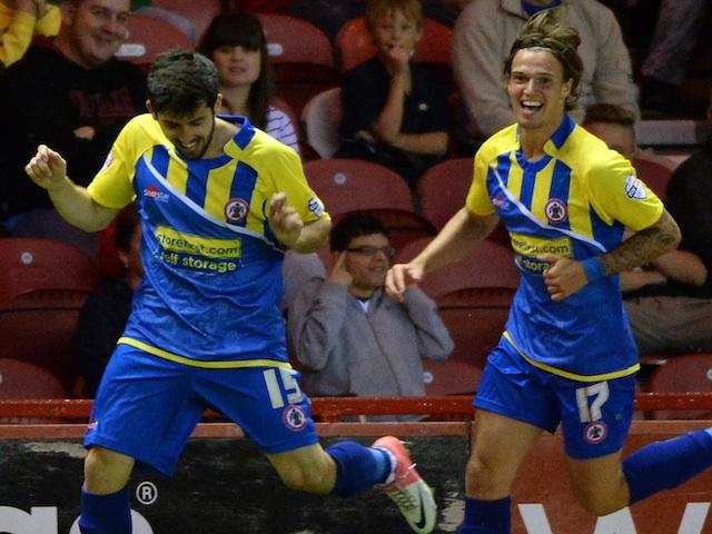 Accrington's Riero Mingoia celebrates a late goal against Middlesbrough on August 6, 2013