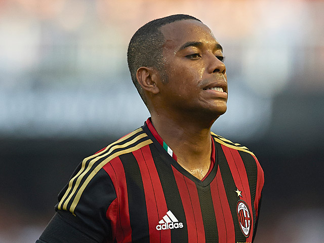 AC Milan's Robinho in action during a friendly match against Valencia on July 27, 2013
