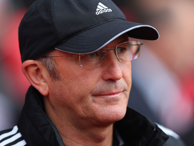 Stoke City Manager Tony Pulis looks on at the start of the Barclays Premier League match between Southampton and Stoke City on May 19, 2013
