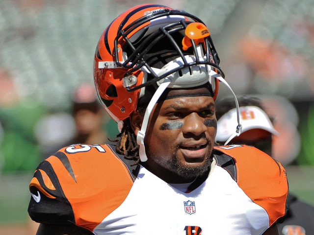 Vontaze Burfict of the Cincinnati Bengals warms up before a game against the Cleveland Browns on September 16, 2012