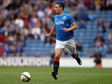 Lee Wallace of Rangers controls the ball during the Pre Season Friendly match between Rangers and Newcastle United at Ibrox Stadium on August 06, 2013