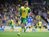 Ricky van Wolfswinkel of Norwich City celebrates after scoring their second goal during the Barclays Premier League match between Norwich City and Everton at Carrow Road on August 17, 2013