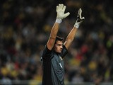 Argentina goalkeeper Sergio Romero in action during a friendly match against Sweden on February 6, 2013