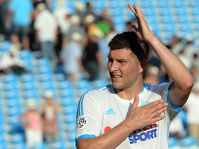 Marseille's Andre-Pierre Gignac in action against Evian on August 17, 2013
