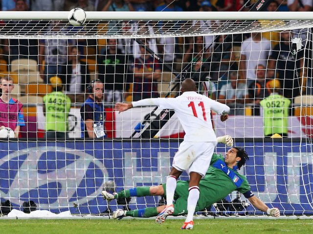 Ashley Young hits the bar during England's penalty shootout against Italy.